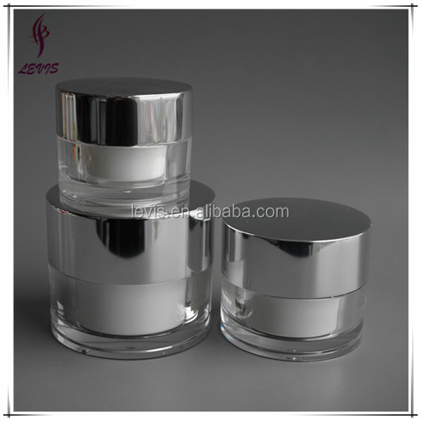 Empty round shaped acrylic cosmetic luxury jar with UV coating cap
