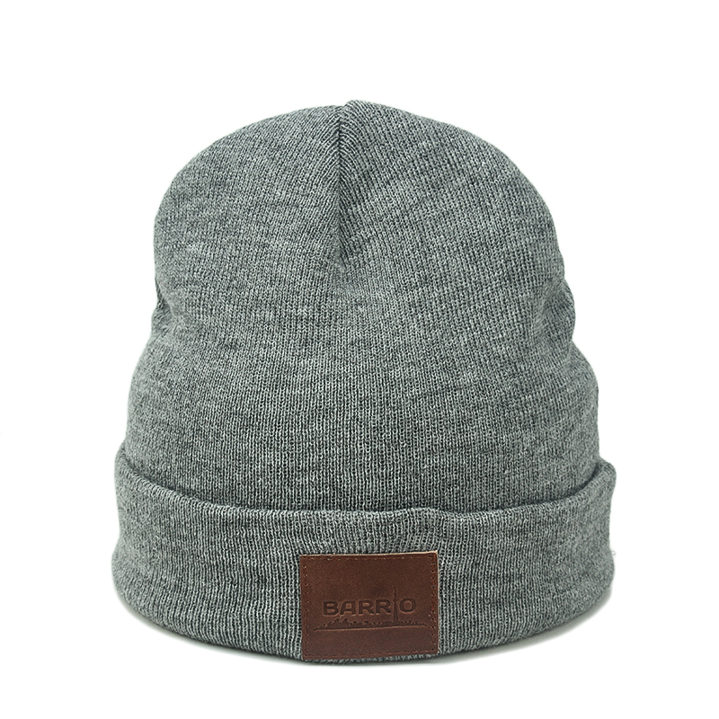 wholesale custom knit slouchy merino wool cheap beanie hat with custom  leather label b3b1265d7a0