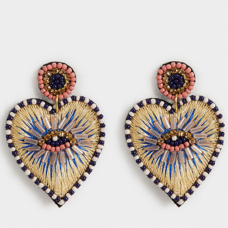 KDB1278 new arrival fashion beaded embroider heart earrings