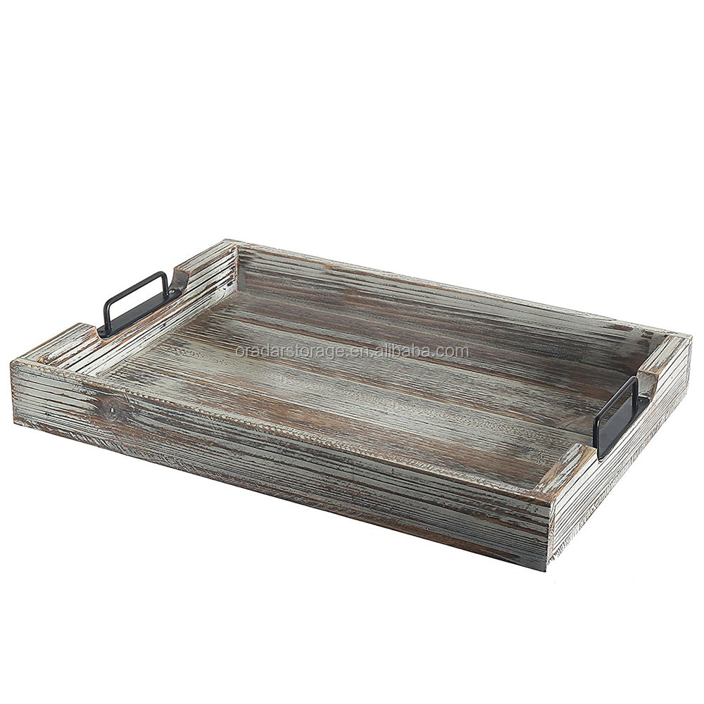 Wood Serving Tray with Modern Black Metal Handles