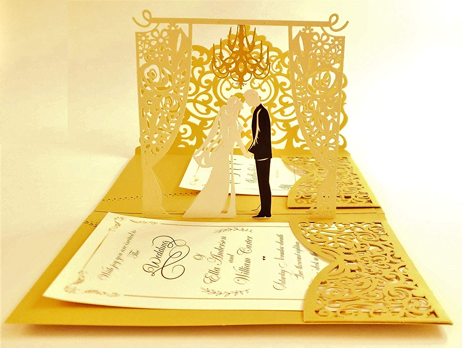 Buy Personalized Pop Up Wedding Invitations With Gold Laser