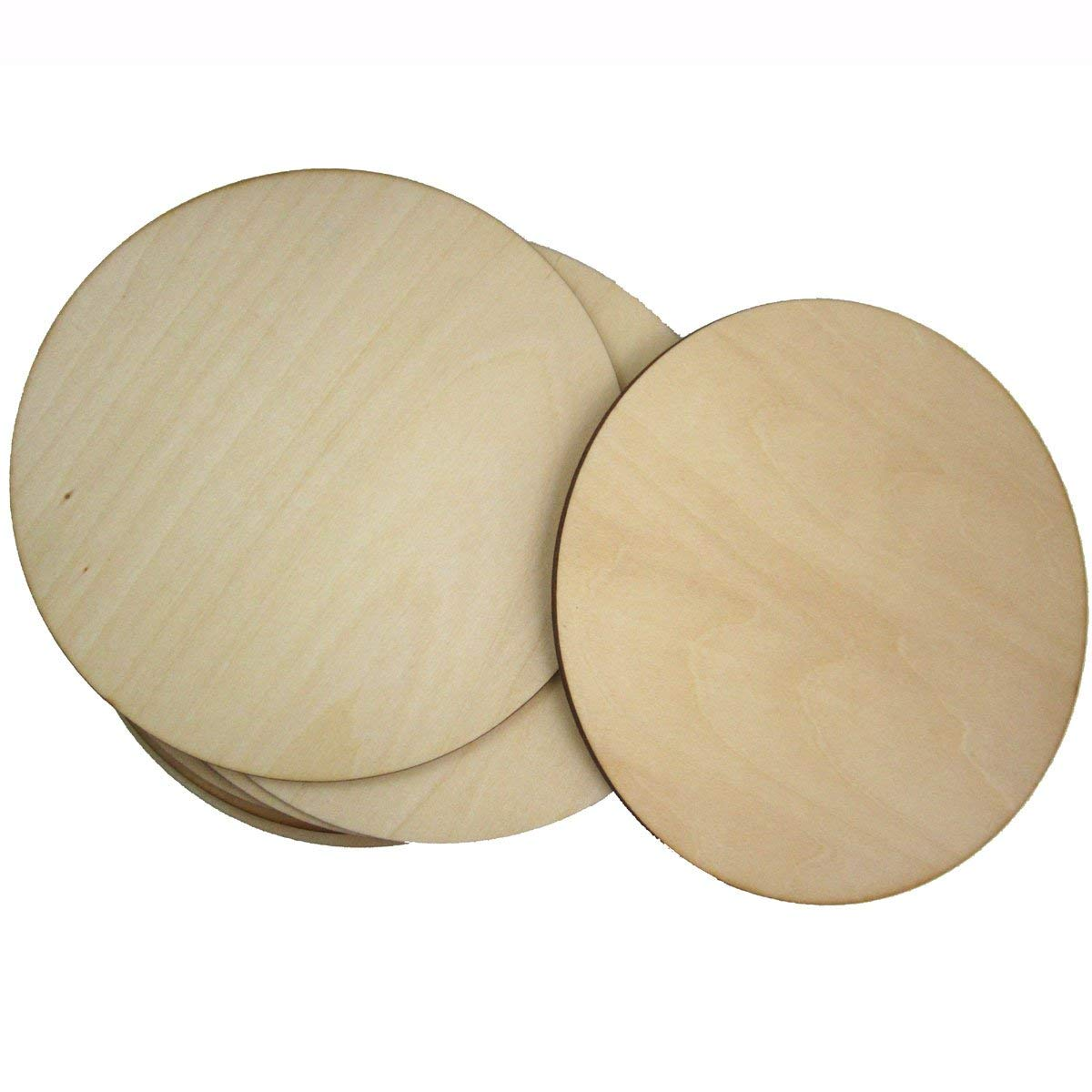 WINGONEER 10pcs 3mm Thick Basswood Round Wooden Disc Blank Wood Cutout for Creating Jewelry Painted Christmas Tree Decorated craft Projects - Diameter 15cm