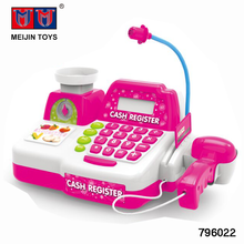 Hot selling kids plastic cashier desk toys with sound/light/microphone/calculator
