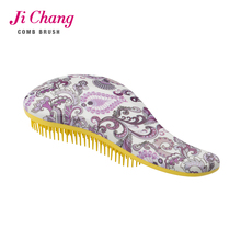 Water-transfer printing flower pattern detangling hair brush/detangle comb