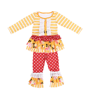 Mustard yellow and white striped dress jogging boutique girls outfits top with white cotton lace