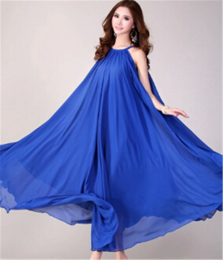 OEM ODM Customize Multi Way Blue Chiffon Long Maxi Dress