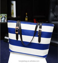 Large capacity pu branded hand bags for women western style cross stripe lady tote bags shopping women beach bags