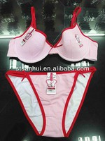 New design fancy striped Hello Kitty lovely girl bra and panty underwear