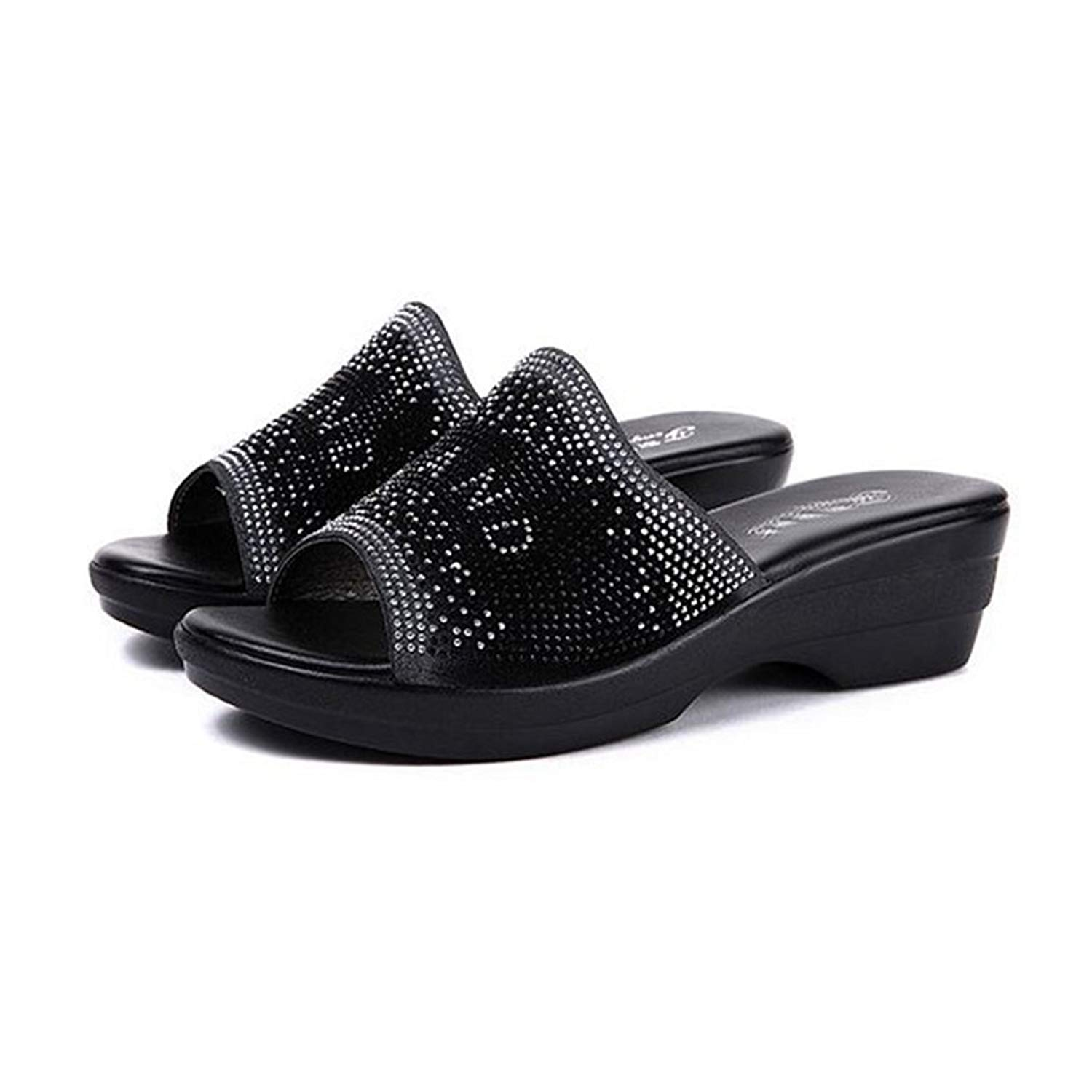 90eb4d2ba7662 Get Quotations · GIY Women s Low Wedges Slide Sandals Rhinestone Platform  Comfort Anti-Slip Sparkly Dress Sandals Black