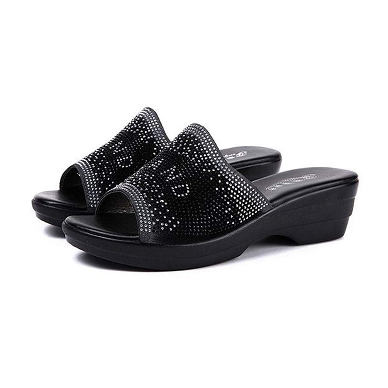 6ebaa9dbaf12 Get Quotations · GIY Women s Low Wedges Slide Sandals Rhinestone Platform  Comfort Anti-Slip Sparkly Dress Sandals Black