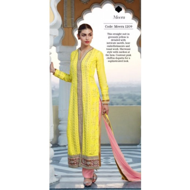 e66f32d872 Get Quotations · Yellow Georgette Wedding Salwar Kameez Sets Embroidery  Kimora Churidar Dupatta Pakistan Traditional Women Clothing Salwar Suits