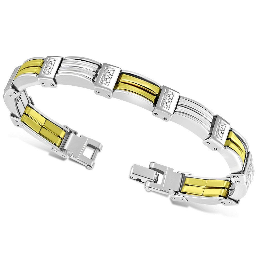 3e0117a3a Get Quotations · My Daily Styles Stainless Steel Silver-Tone Gold-Tone Link  Men's Bracelet, ...