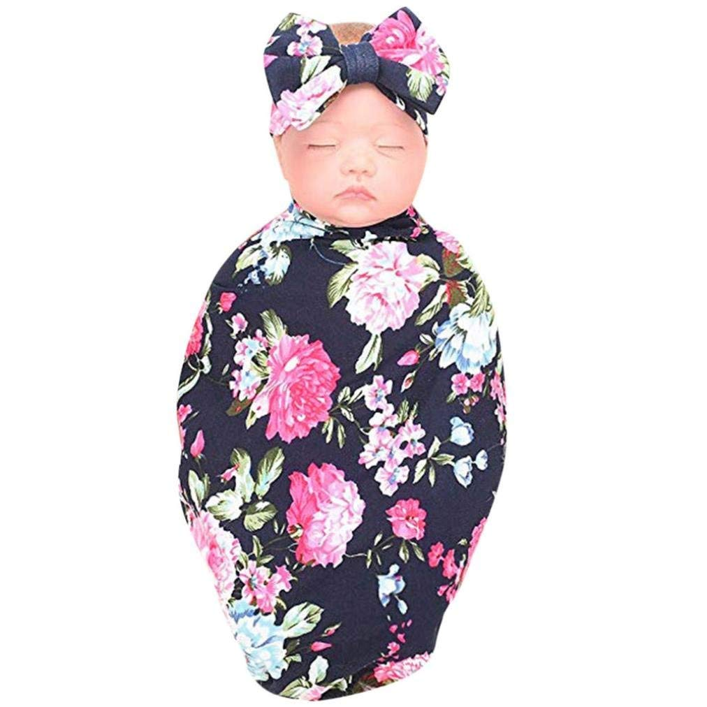 Get Quotations · Sunfei 2Pcs Newborn Receiving Blanket Headband Set Flower  Print Baby Swaddle Receiving Blankets a26f2088e
