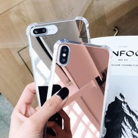 Luxury Plating TPU Mirror Phone Case Cover For iPhone X Case Silicon For iPhone 7 8 X XR XS XS Max Case
