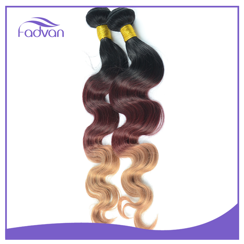 7A grade quality 100% human ombre hair 1b 33 27 cheap 3 tone color brazilian hair weave