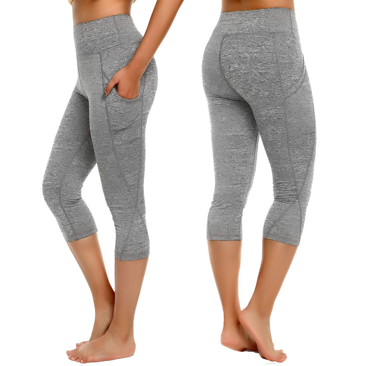 4d45310460fca Get Quotations · CROSS1946 Sexy Women's Out Pocket Yoga Fitness Cropped  Pants Skinny Leggings Tummy Control Workout Capris