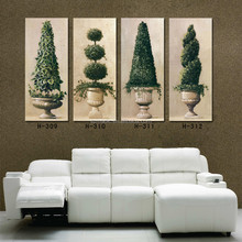 Contemporary Fine Art 4 Piece Canvas Framed Oil Paintings Green Plants in the Vase Vintage Living Room Wall Art Pictures