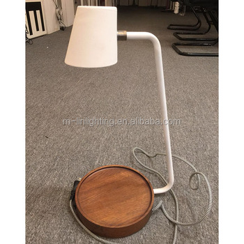 Wood Base White Shade Small Table Lamp Desk Led With Usb Port For Bedroom Study
