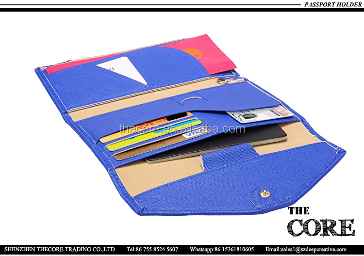 OEM customize logo top quality PU leather passport wallet, travel wallet passport holder