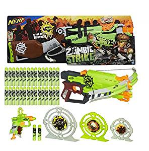Nerf Zombie Strike Slingfire Blaster with Zombie Strike Crossfire Bow Blaster, Zombie Strike Target Set, and Dart Refill Pack Bundle of 4 Items