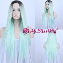 Overnight Delivery Synthetic Hair Long Straight Two Tone Ombre Light Green Machine Made Full Wig 100% Modacrylic Fiber