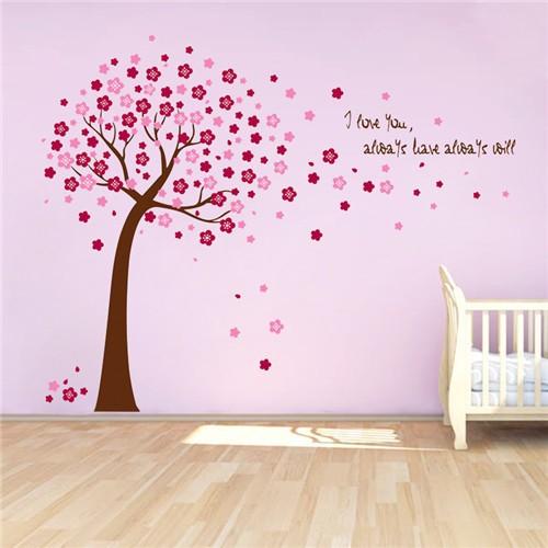 abnehmbar pvc wandtattoo brauner baum mit rosa und rote bl tter tapeten wohnkultur f r. Black Bedroom Furniture Sets. Home Design Ideas