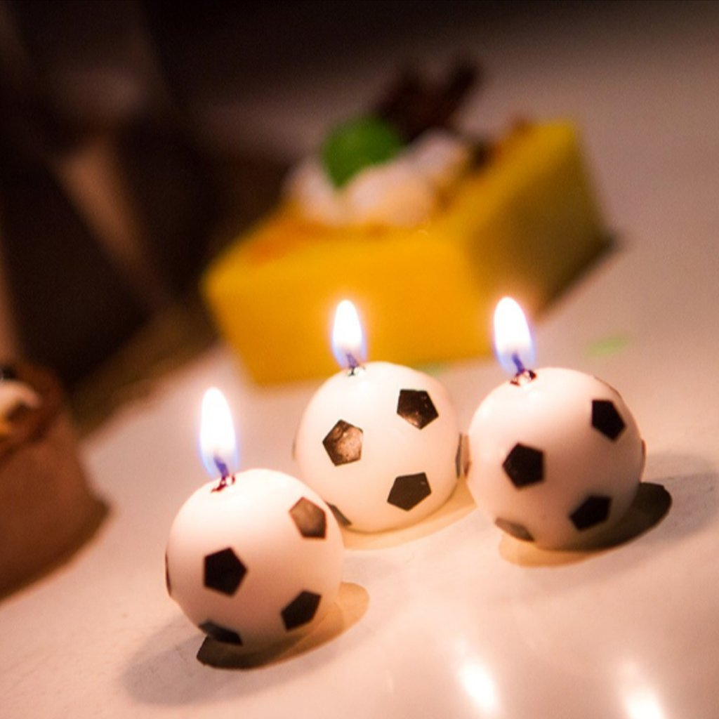 Get Quotations EA STONE 3Pcs Birthday Candles Soccer Ball Football Party Cake Decorations Supplies