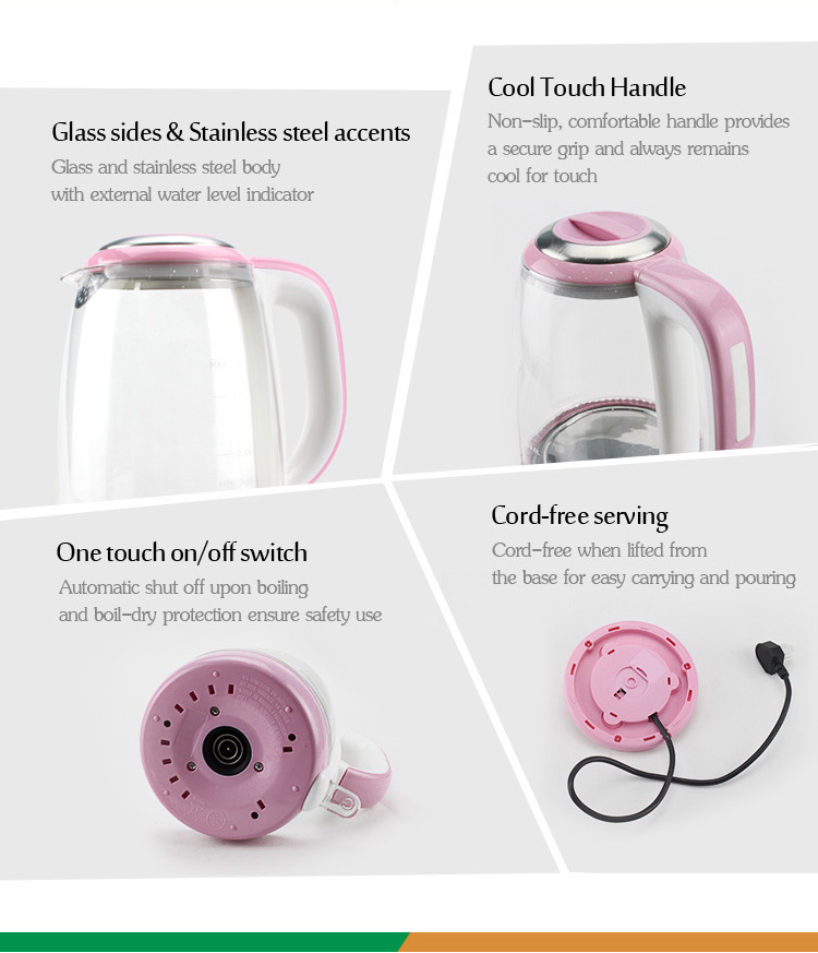 fashion style automatic water coffee milk boiler camping travel cordless stainless steel appliances electric glass kettle - Non Stainless Steel Appliances