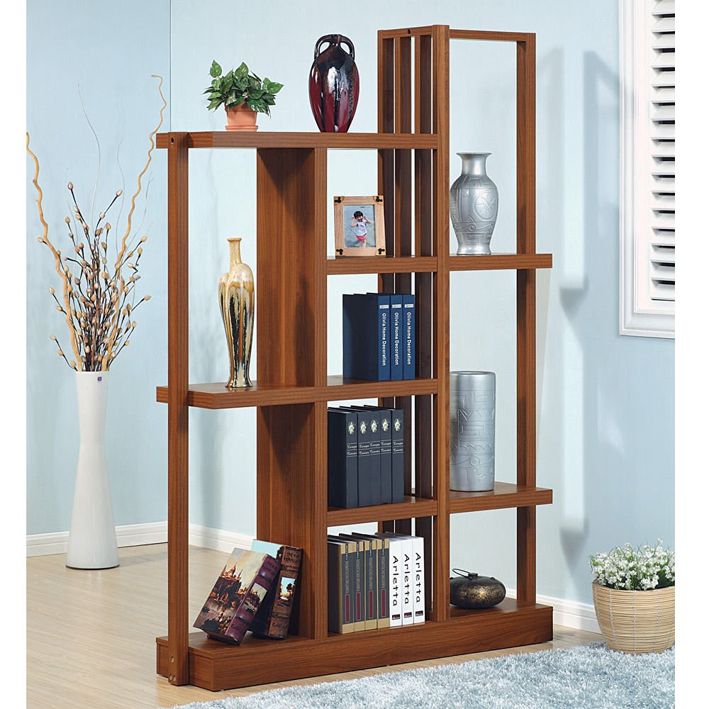 1PerfectChoice Contemporary Display Cabinet Bookcase Bookshelf Cabinet  Divider Wood Walnut