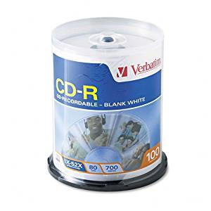Verbatim : Disc CD-R 80 min White bulk 52X 700MB 100/spindle non-printable700MB 100/spindle non-printable -:- Sold as 2 Packs of - 100 - / - Total of 200 Each