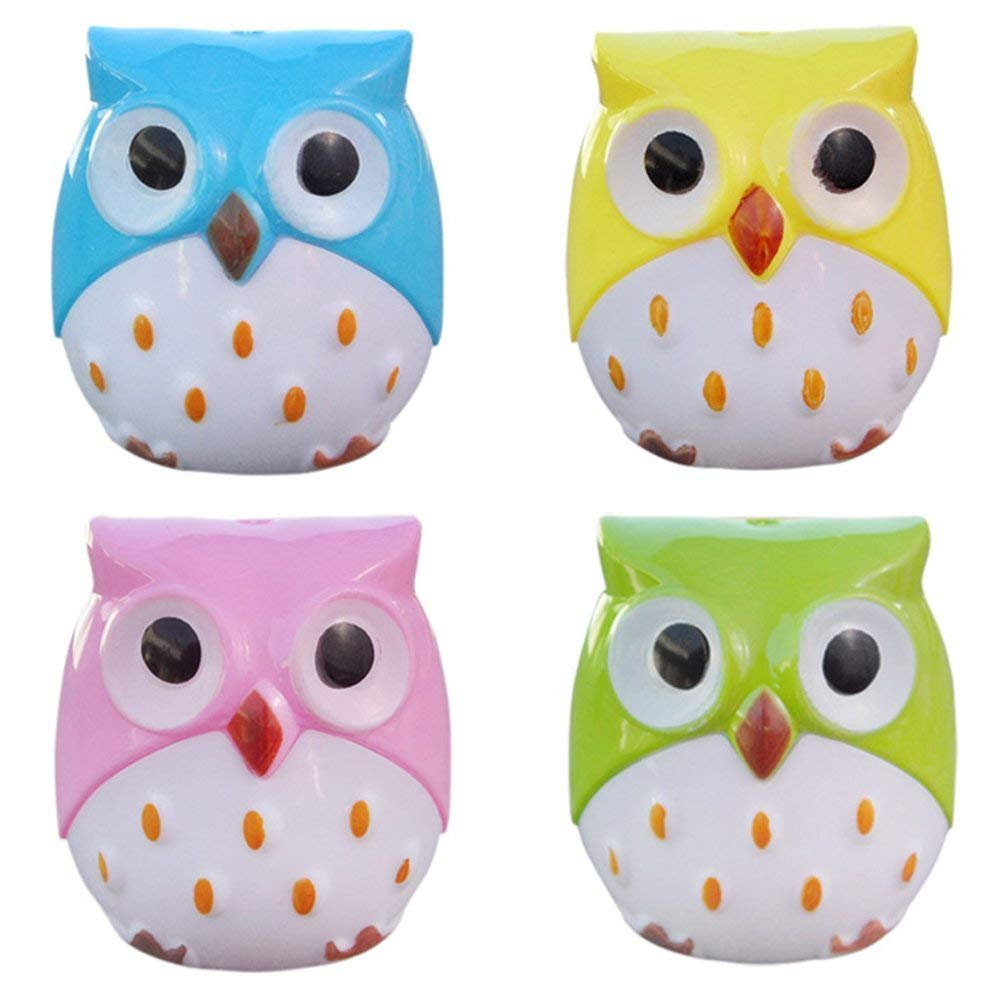 Mini Cute Lovely Cartoon Animal Owl Double Hole Pencil Sharpener Creative Kawaii Cutter Knife School Supplies (4pcs Owl)
