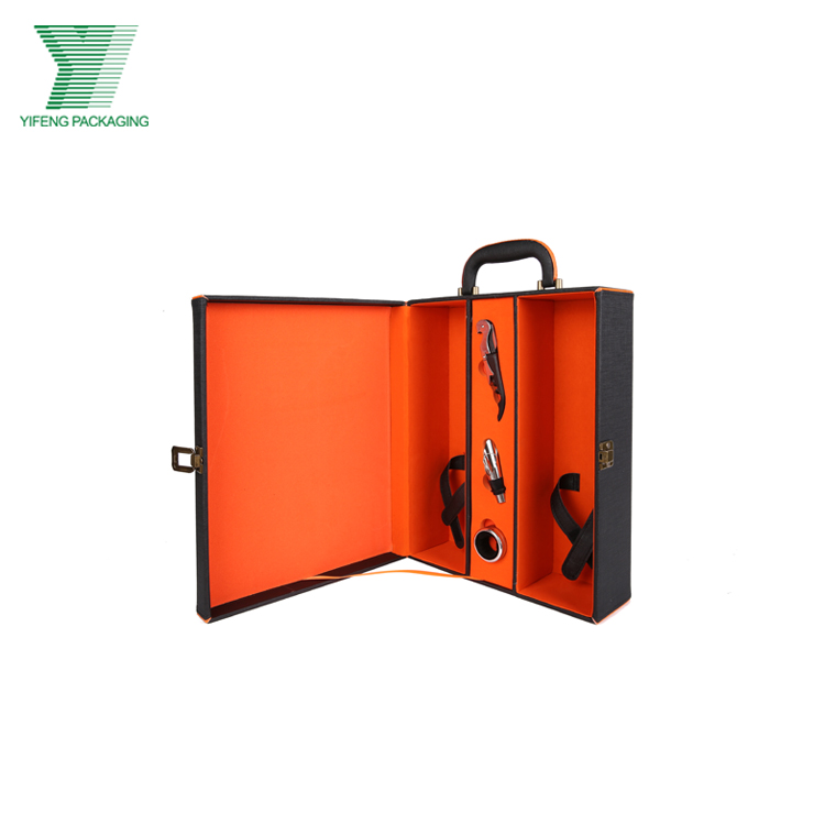 Alibaba manufacture cheap sale two bottle wine packaging pu leather box set
