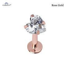 Starbeauty 1 шт., 16Gx, 6/8 мм, 3/4/5 мм, сердце, драгоценный камень, кольцо для носа и уха, носоупорное кольцо, губная спираль, пирсинг для пупка, серьги, ук...(China)