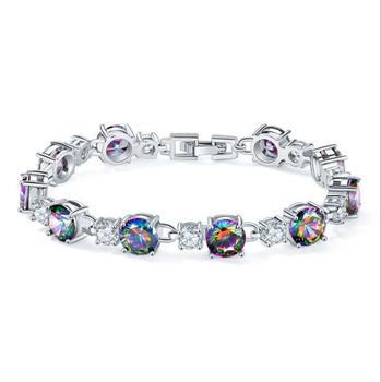 c98b9cd3a KS0008 Huilin Jewelry High quality Silver Plated Fashion Shiny Austria  Crystal Zircon Bracelets & Bangles Women