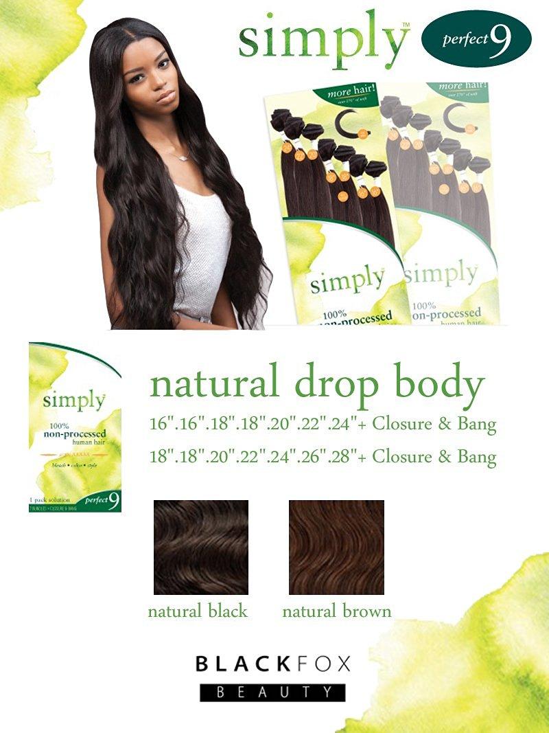 "Outre Simply Perfect 9 - Brazilian Natural Drop Body 9PCS (18"".18"".20"".22"".24"".26"".28""+ Closure & Bang, Natural Black)"