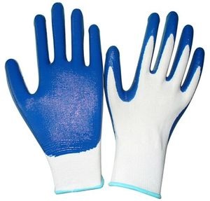 factory cheap price 13 niddles blue bright anti oil butyronitrile polyester working gloves mittens