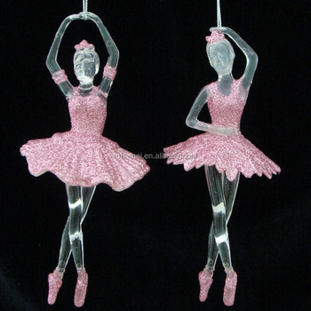 Hanging The Christmas Tree Glitter Acrylic Ballerina Ornament