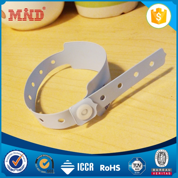 MDWW1006 UHF / HF /LF paper/PVC one time medical wristband disposable rfid wristband