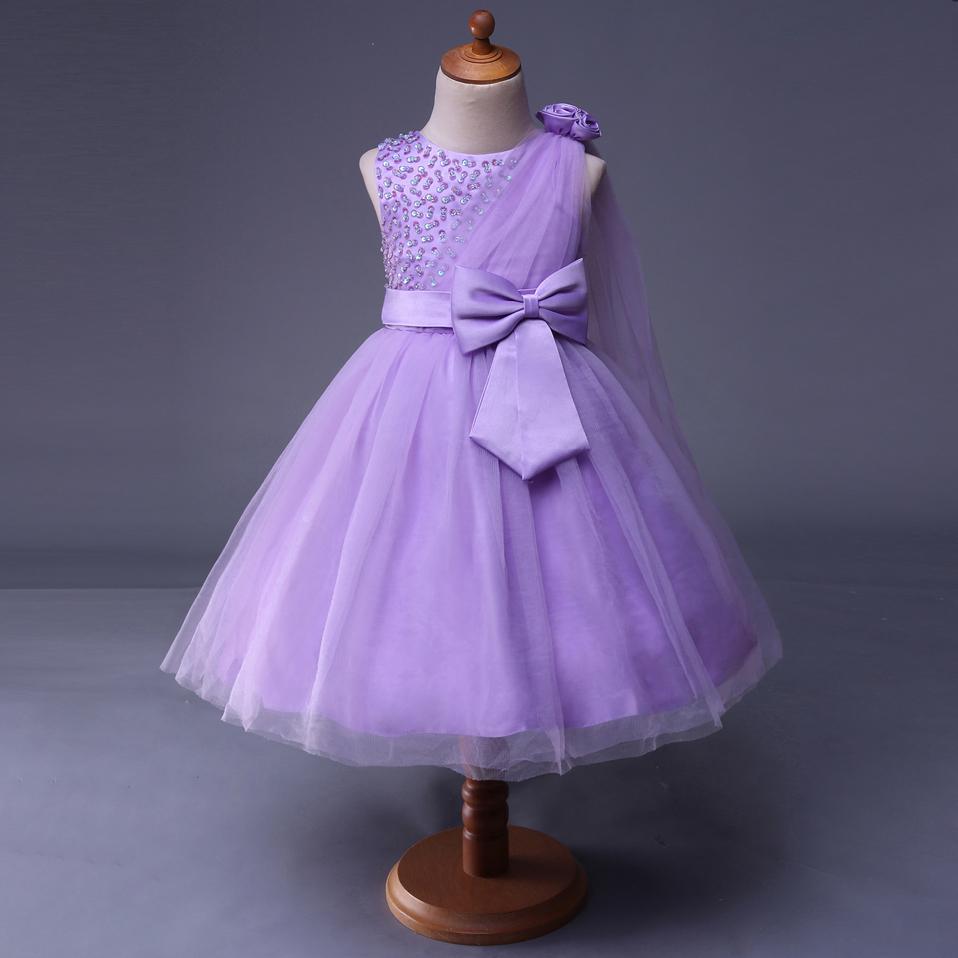 Venta al por mayor vestidos de niñas elegantes color morado-Compre ...