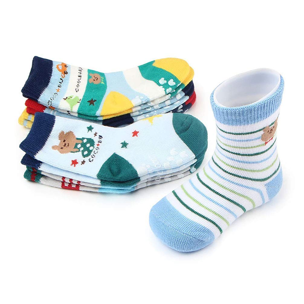 NACOLA Baby Boys Girls Toddler Non Skid Cotton Socks with Grip for 0-12 Months,12 Pairs/Pack