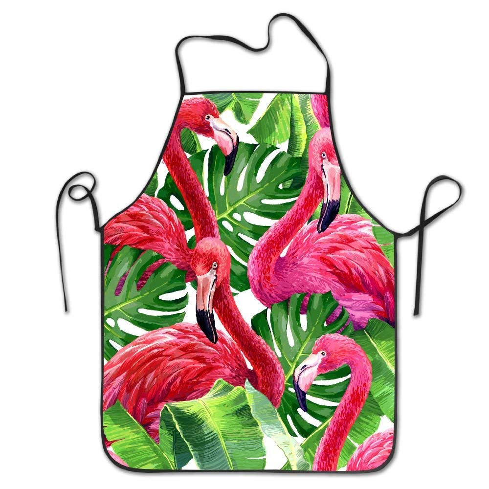 RZ GMSC Novelty Pink Flamingo Unisex Kitchen Chef Apron - Chef Apron For Cooking,Baking,Crafting,Gardening And BBQ