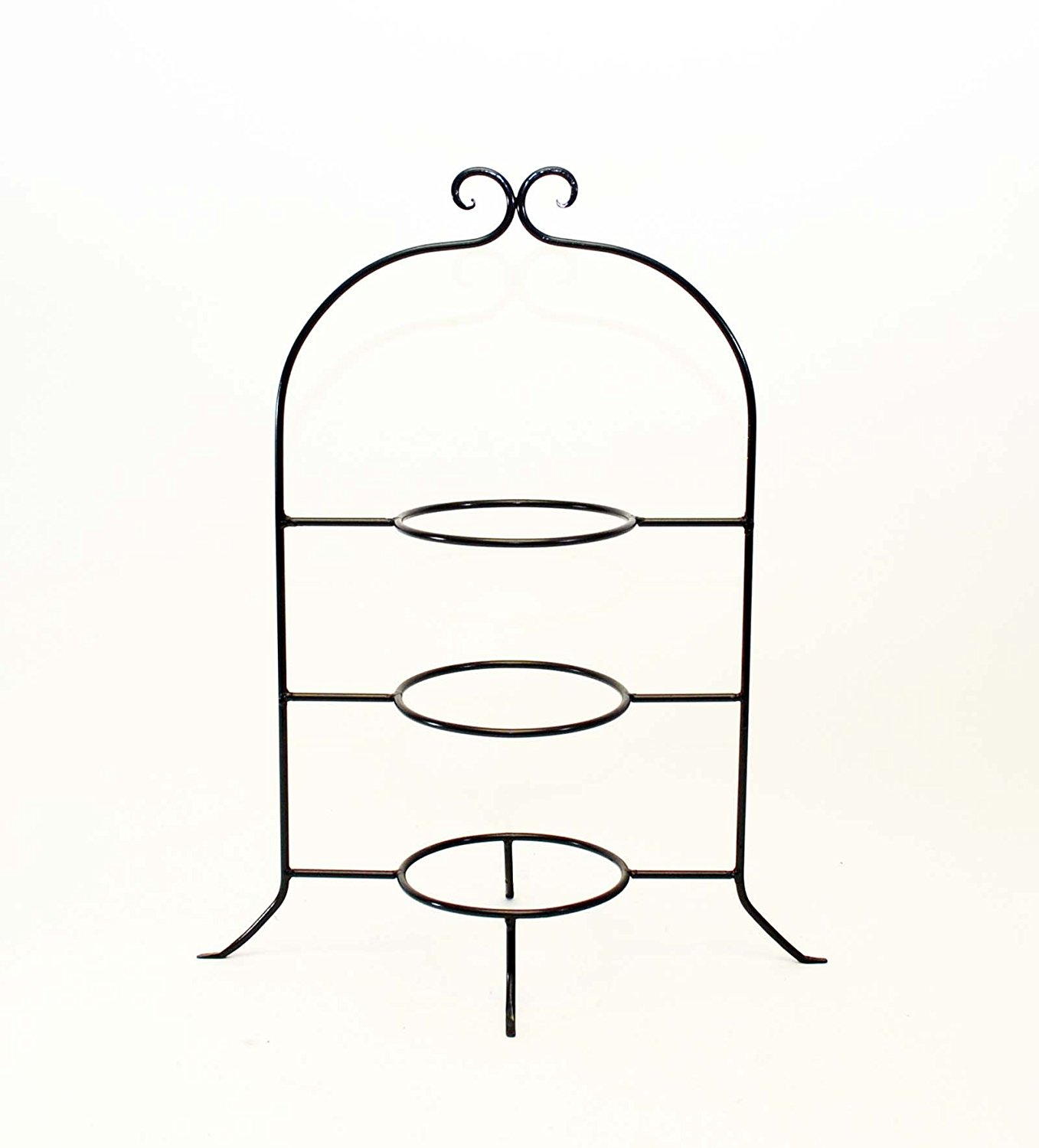 Wrought Iron Three Tier Dessert Plate Rack-22 Inches High x 17 7/8 Inches Total Width. Rings are 6 Inches in Diameter. Iron is 1/4 Inch Thick.
