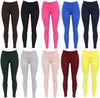 Hot Sale Factory Wholesale High Waist Slimming Cotton Candy Solid Color Plain Leggings