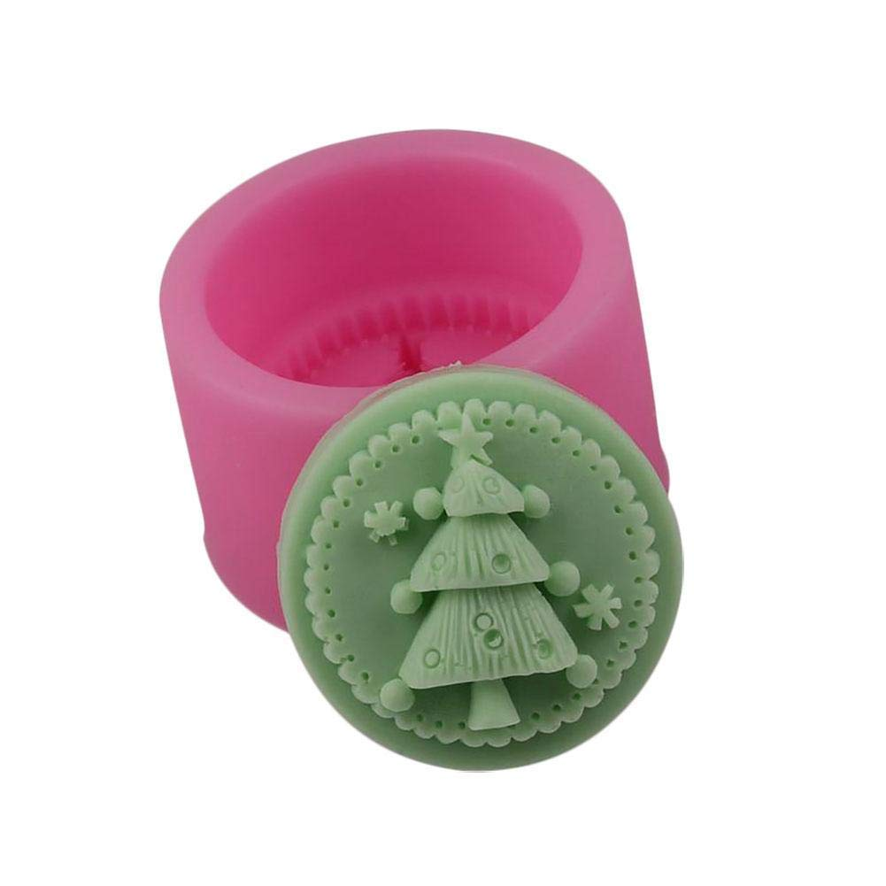 Christmas Tree Silicone Soap Mold Round DIY Clay Mould Xmas Soap Making Decorating Tools Random Color