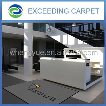 needle punched velour logo printed welcome carpet with pvc backing