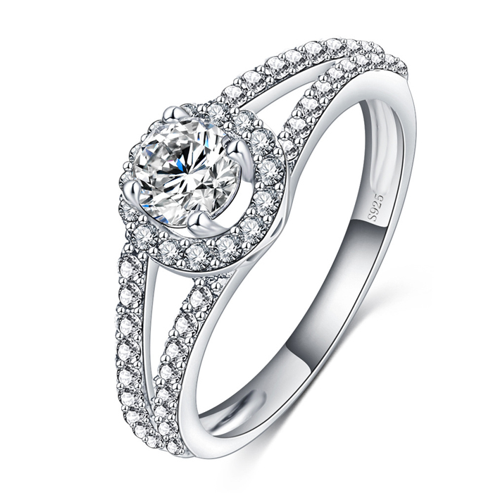 SJ Customized Jewelry SJI0008 Classic Halo Round Cubic Zirconia Rhodium Plated Simulant Diamond 925 Silver Ring for Wedding
