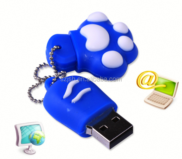 Waterproof Cute Cat Pad PVC custom flash memory usb 32 gb with necklace