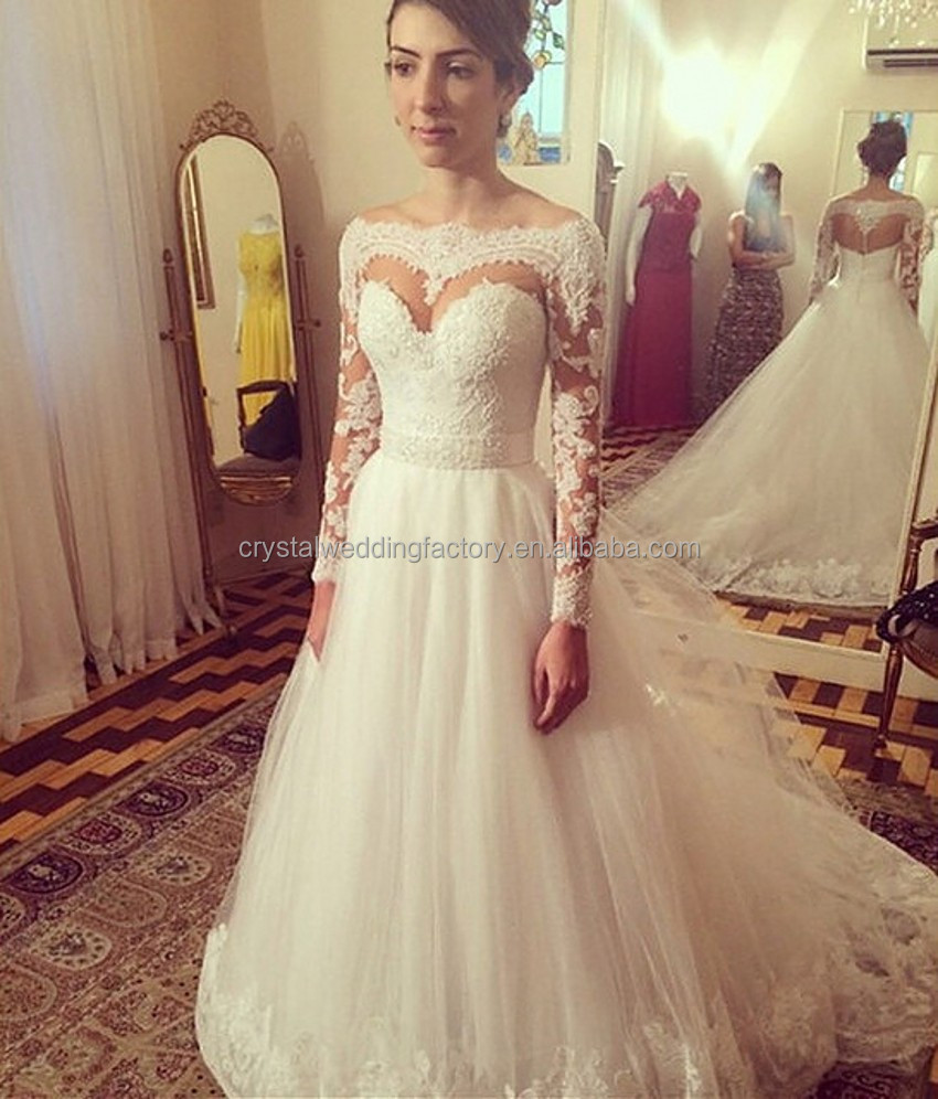 Vestido De Noiva Button Sashes Chapel Train 2017 White Bride Gowns Custom Made 2017 Long Sleeve Lace Wedding Dresses MW924