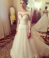 Vestido De Noiva Button Sashes Chapel Train 2017 White Bride Gowns Custom Made 2017 Long Sleeve Lace Wedding Dresses MW924