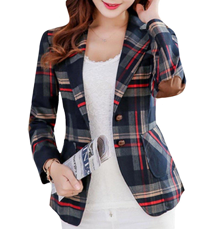 YUNY Women Slim Cut Center Vent Gingham British Style Suit Coat 1 XL
